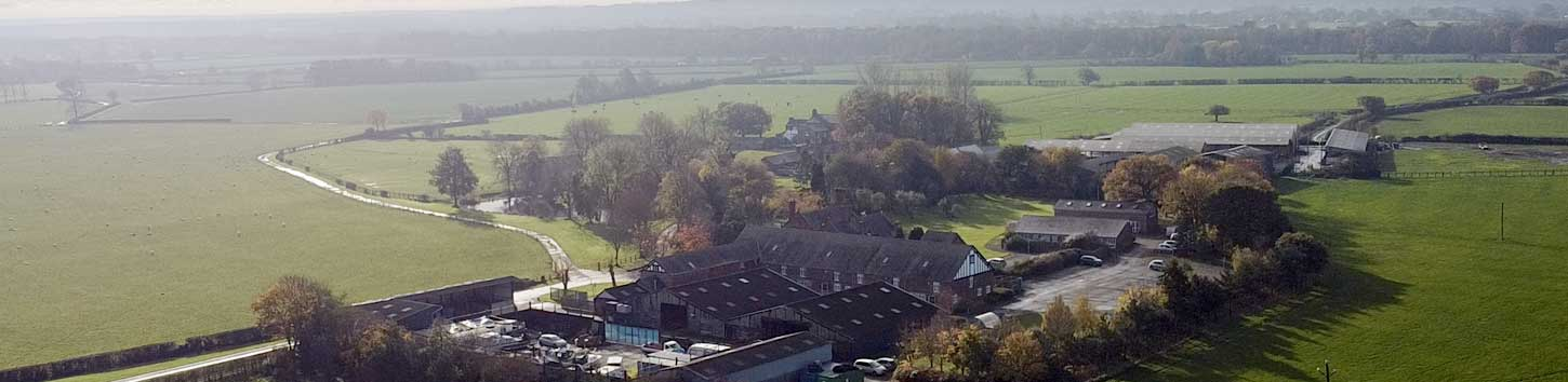Overhead view of office units at Bretton Hall Properties, showing rural location near Chester